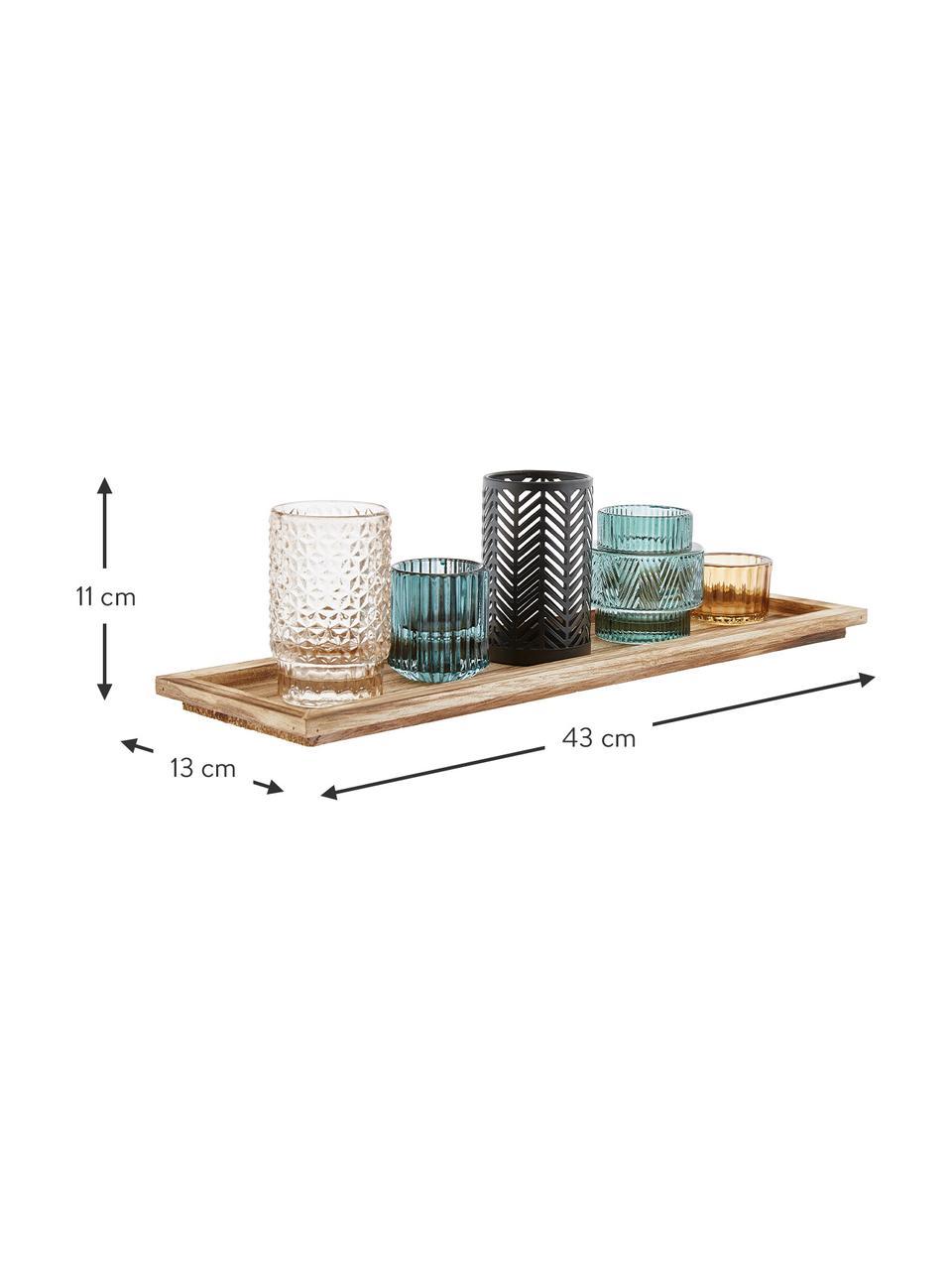 Set portacandele Homa 6 pz, Lanterne: vetro tinto a spruzzo, Vassoio: legno di paulownia, Multicolore, Larg. 43 x Alt. 11 cm