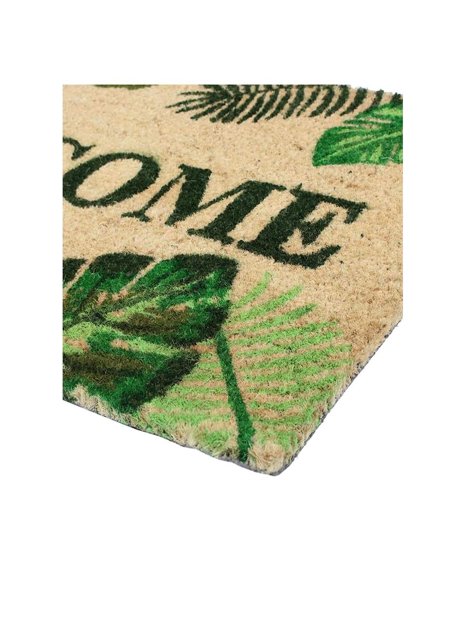 Zerbino Welcome, Retro: PVC, Beige, tonalità verde, Larg. 40 x Lung. 70 cm