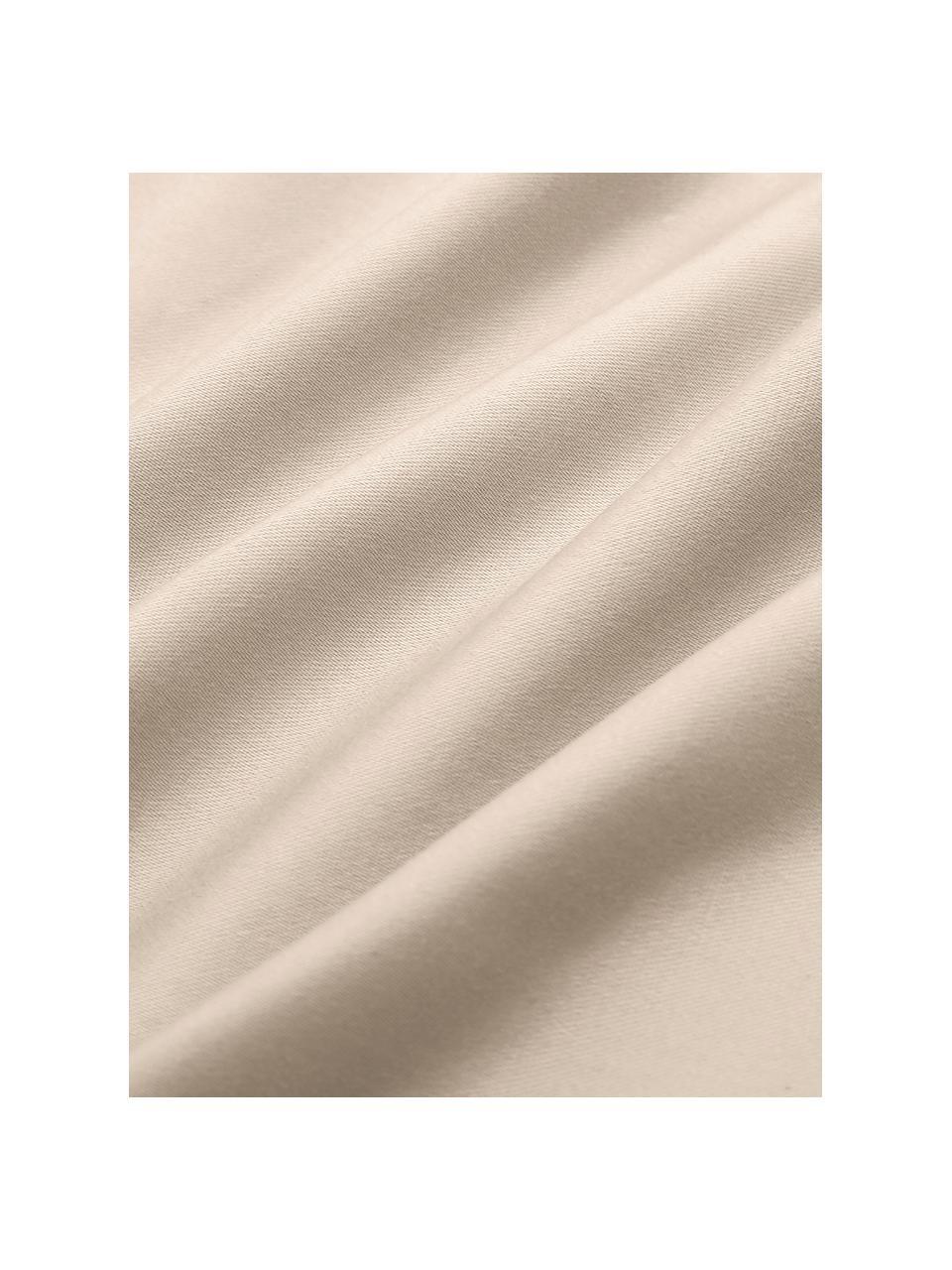 Parure copripiumino in raso di cotone taupe Premium, Taupe, 155 x 200 cm