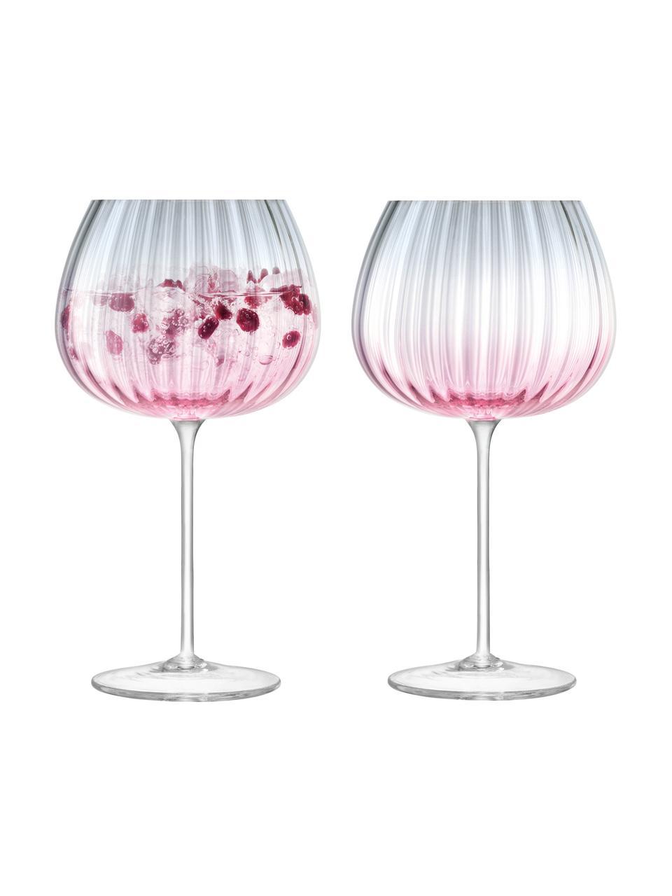 Handgemaakte wijnglazen Dusk met kleurverloop, 2 stuks, Glas, Roze, grijs, Ø 10 x H 20 cm