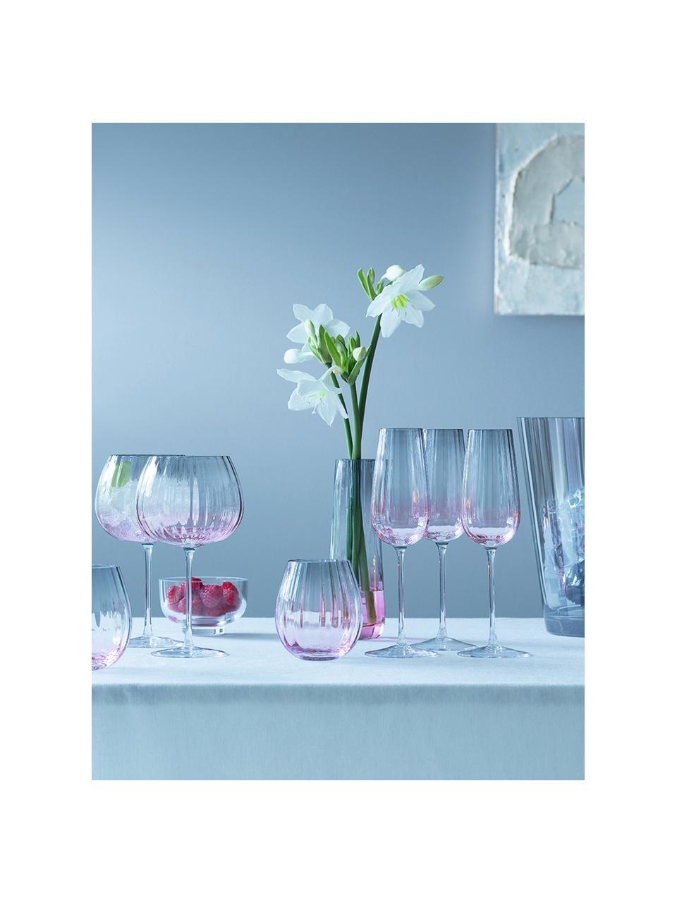 Handgemachte Weingläser Dusk mit Farbverlauf, 2 Stück, Glas, Rosa, Grau, Ø 10 x H 20 cm