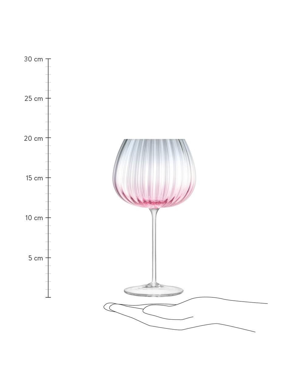 Set 2 calici in vetro fatti a mano Dusk, Vetro, Rosa, grigio, Ø 10 x Alt. 20 cm