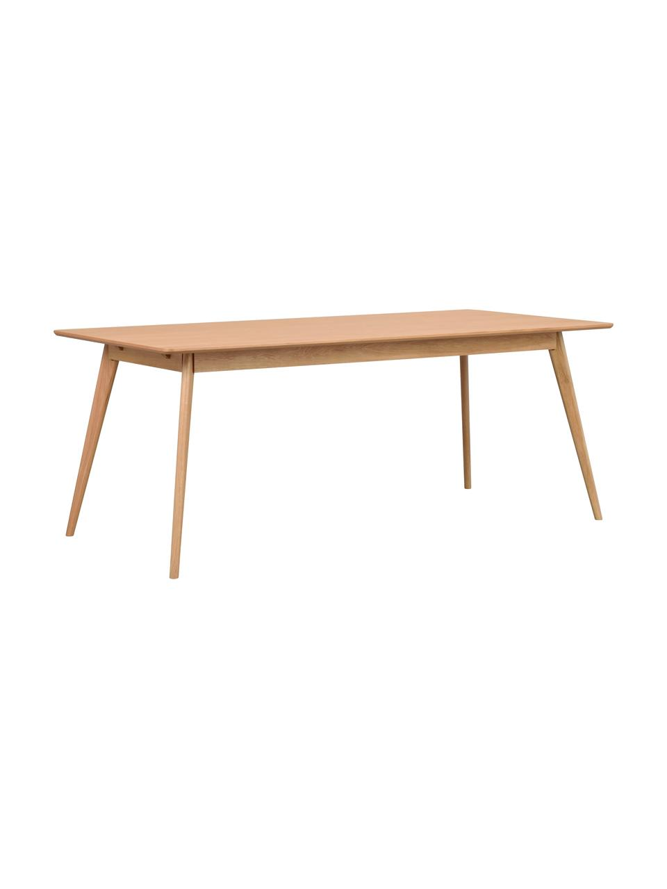 Stół do jadalni z drewna Yumi, Blat: płyta pilśniowa średniej , Nogi: drewno kauczukowe, lite, , Drewno dębowe, S 190 x G 90 cm