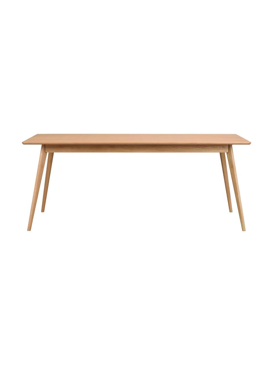 Tavolo stile nordico in legno di quercia Yumi, 190x90 cm, Piano d'appoggio: pannello di fibra a media, Gambe: albero della gomma massel, Legno di quercia, Larg. 190 x Prof. 90 cm