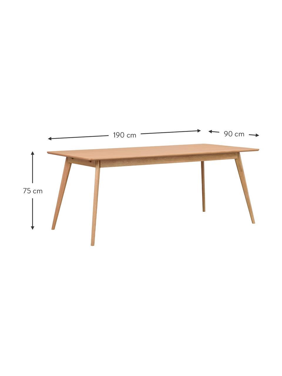 Esstisch Yumi, 190 x 90 cm, Tischplatte: Mitteldichte Holzfaserpla, Beine: Gummibaumholz, massiv, ge, Eichenholz, B 190 x T 90 cm