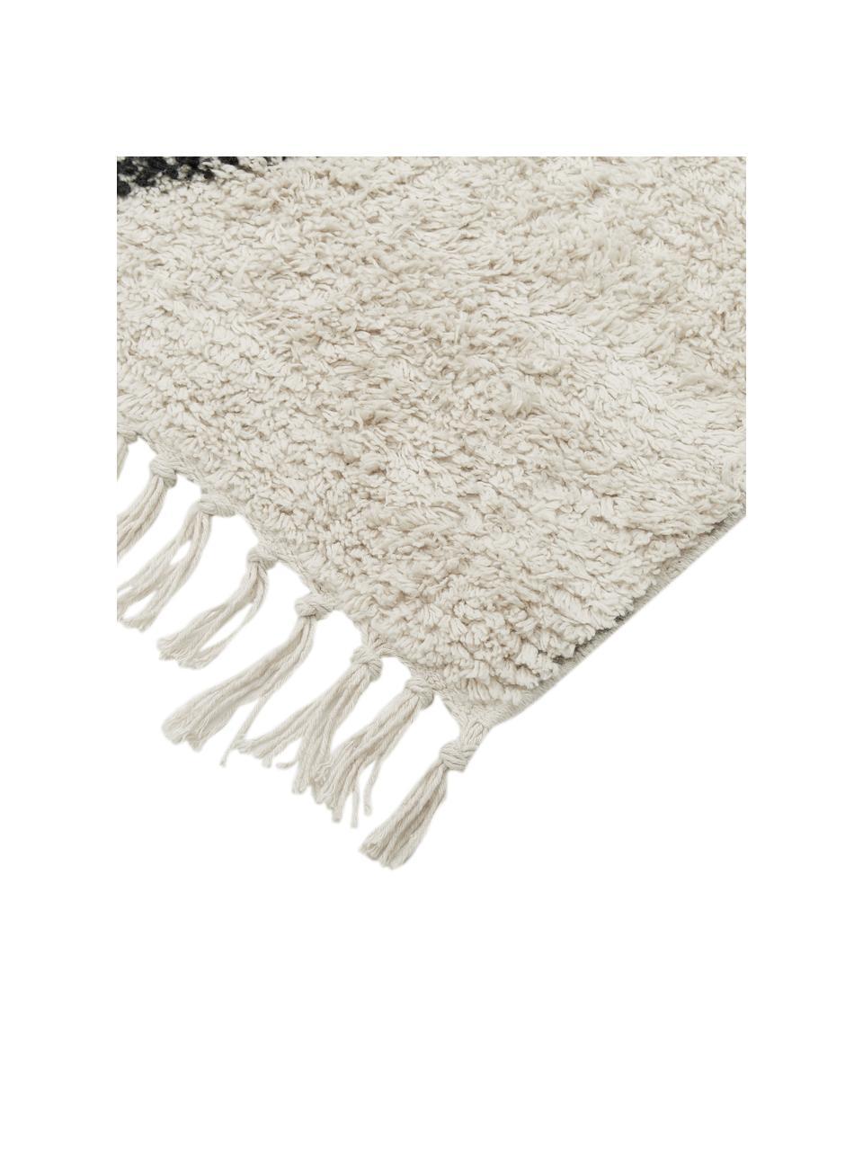 Handgetufteter Boho-Baumwollläufer Bina mit Rautenmuster und Fransen, 100% Baumwolle, Beige, Schwarz, 80 x 250 cm