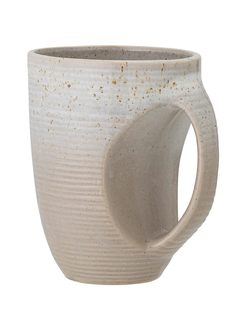 Kaffeetassen Taupe mit handgefertigter Sprenkelglasur, 2 Stück, Steingut, Grau, Ø 10 x H 13 cm