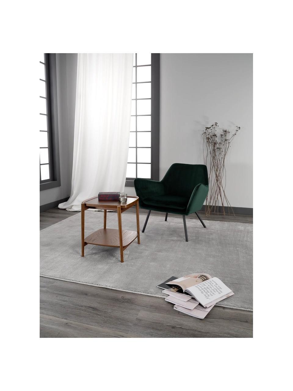 Tavolino in legno di quercia Libby, Struttura: legno massiccio di querci, Marrone scuro, Larg. 49 x Alt. 50 cm