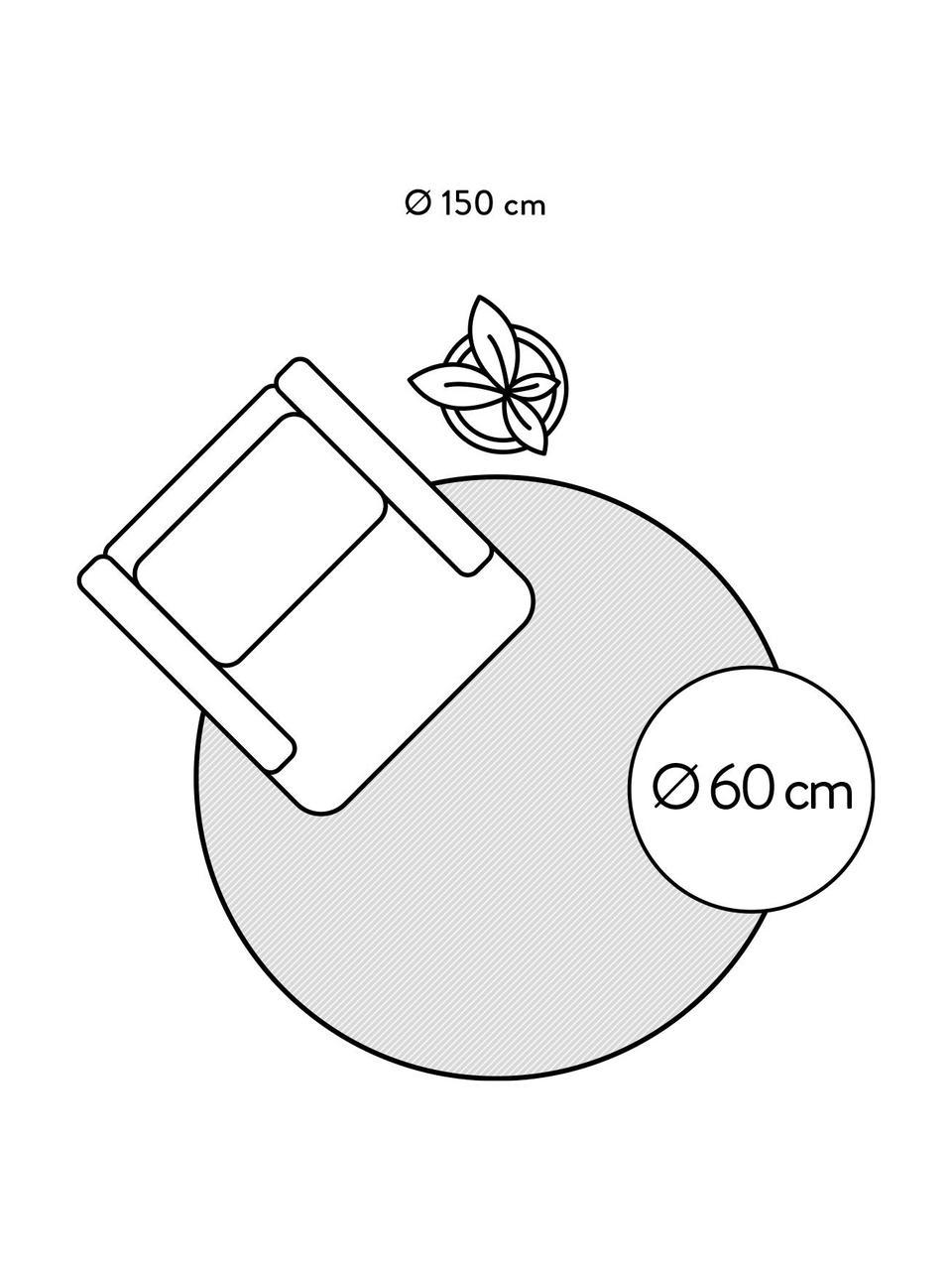 Rond boho katoenen vloerkleed Lines met franjes, handgetuft, 100% katoen, Beige, zwart, Ø 150 cm (maat M)