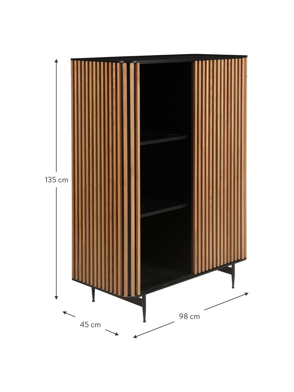 Wysoka komoda z przesuwanymi drzwiami Linea, Korpus: płyta pilśniowa średniej , Nogi: metal lakierowany, Czarny, drewno dębowe, S 98 x W 135 cm