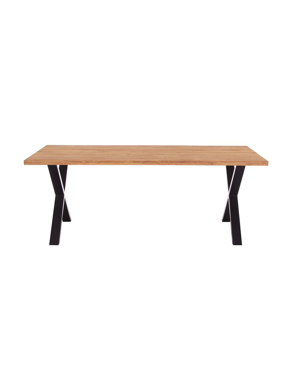 Eettafel Montpellier met massief houten blad, Tafelblad: massief geolied eikenhout, Frame: gepoedercoat staal, Eikenhoutkleurig, zwart, B 200 x D 95 cm