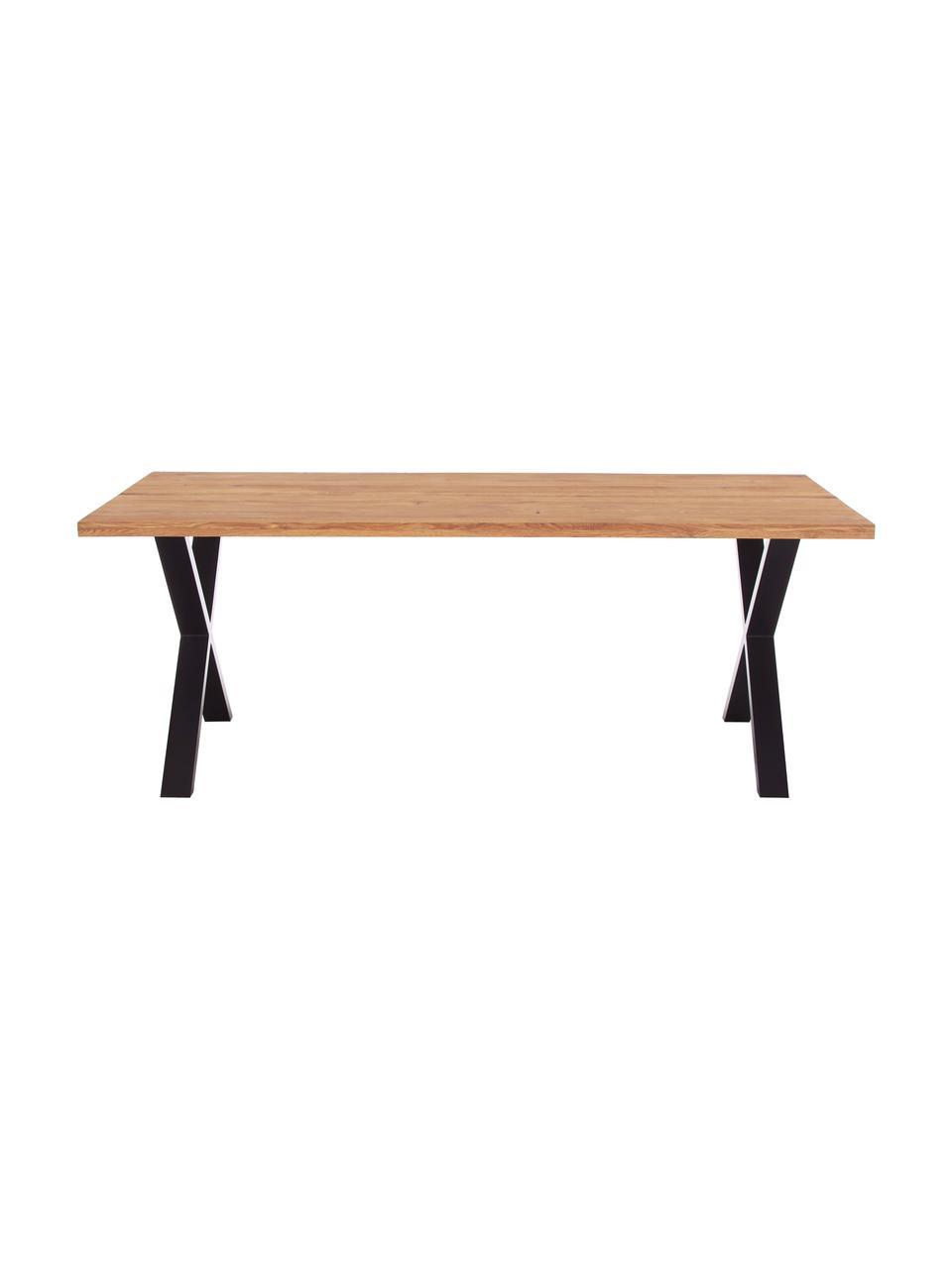 Tavolo con piano in legno massello Montpellier , 200 x 95 cm, Legno di quercia, nero, Larg. 200 x Prof. 95 cm