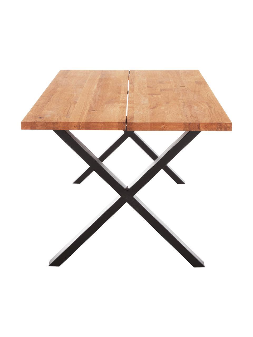 Tavolo con piano in legno massello Montpellier, Legno di quercia, nero, Larg. 200 x Prof. 95 cm