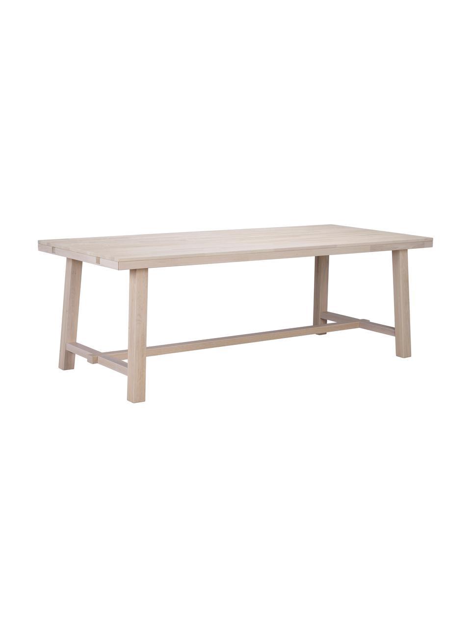 Tavolo in legno massello Brooklyn, Legno massello di rovere, sbiancato e oliato, Legno di quercia, sbiancato, Larg. 220 x Prof. 95 cm