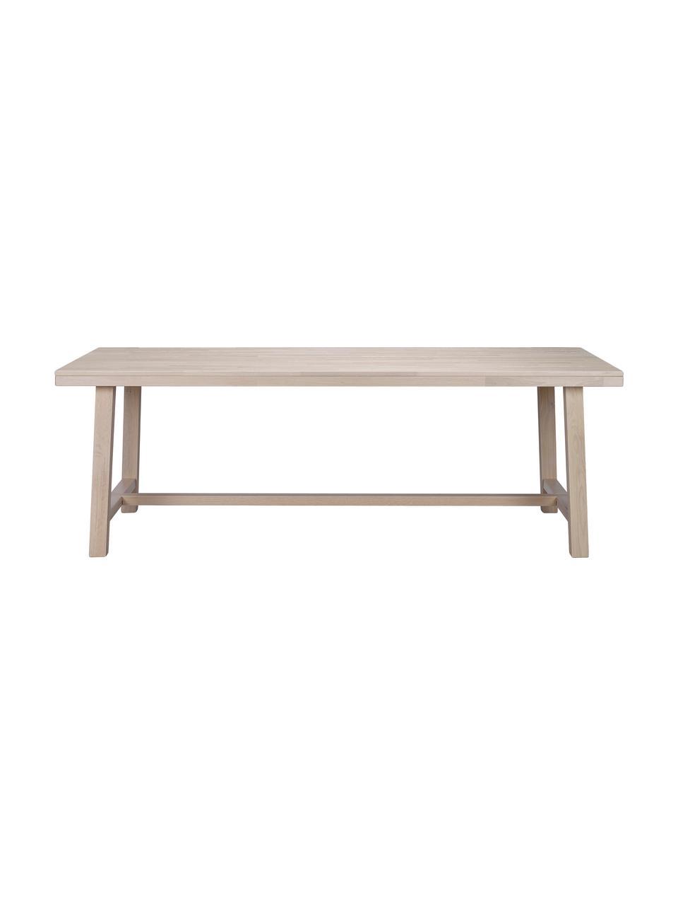 Grande table en bois massif Brooklyn, 220 x 95 cm, Chêne, blanc délavé