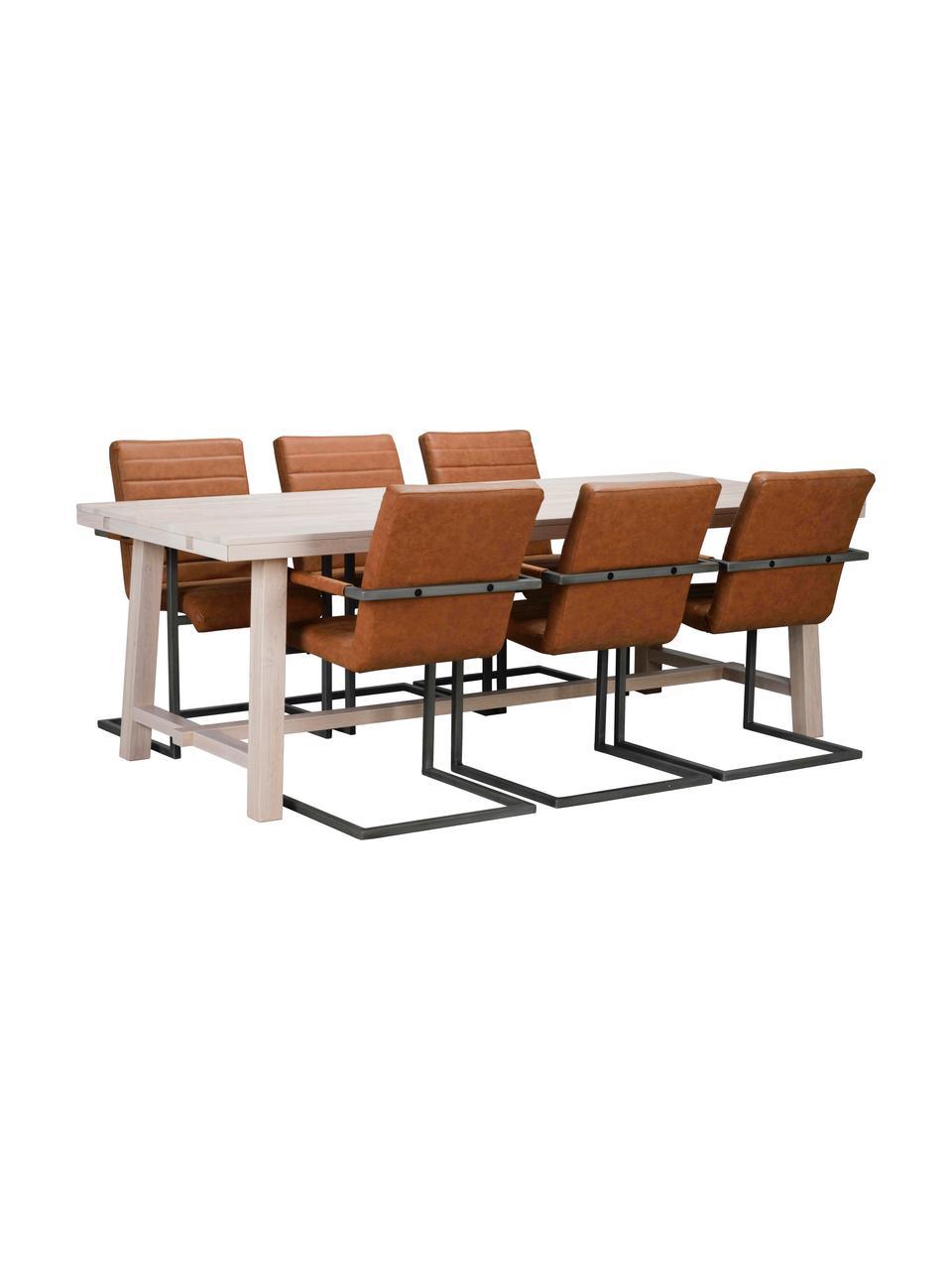 Duży stół do jadalni z litego drewna  Brooklyn, Lite drewno dębowe, bielone i olejowane, Drewno dębowe, biały postarzany, S 220 x G 95 cm