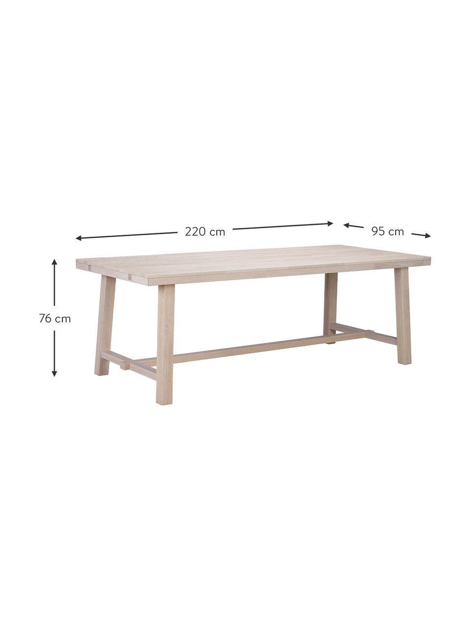 Esstisch Brooklyn mit Massivholzplatte, 220 x 95 cm, Massives Eichenholz, weiß gewaschen und geölt, Eiche, weiß gewaschen, B 220 x T 95 cm