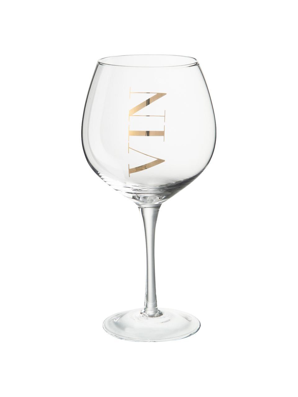 Wijnglazen Vin met opschrift, 6 stuks, Glas, Transparant, goudkleurig, Ø 10 x H 20 cm