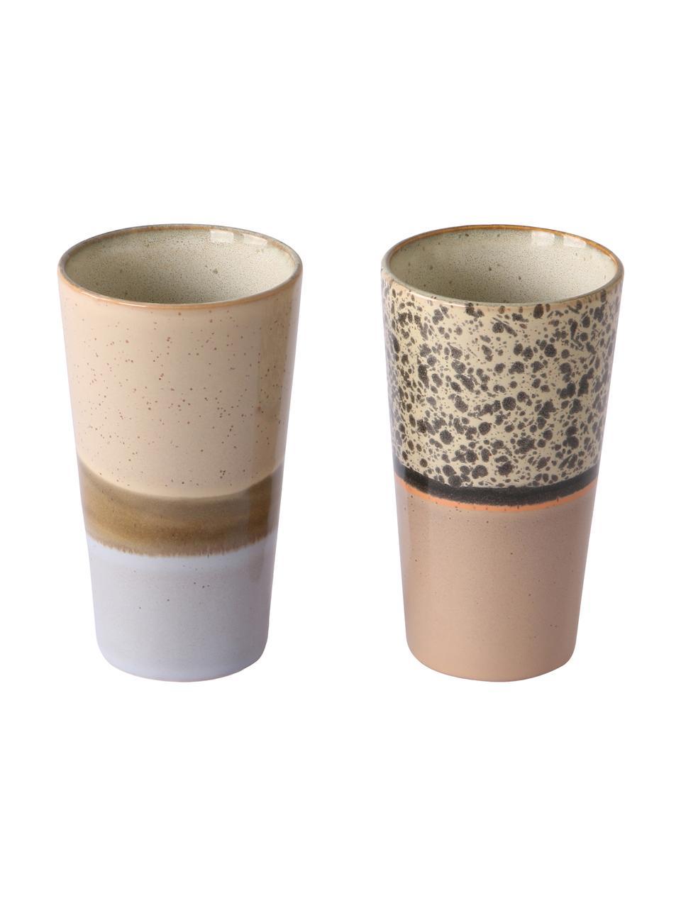 Handgemaakte bekerset 70's in retro stijl, 2-delig, Keramiek, Multicolour, bruintinten, Ø 8 x H 13 cm
