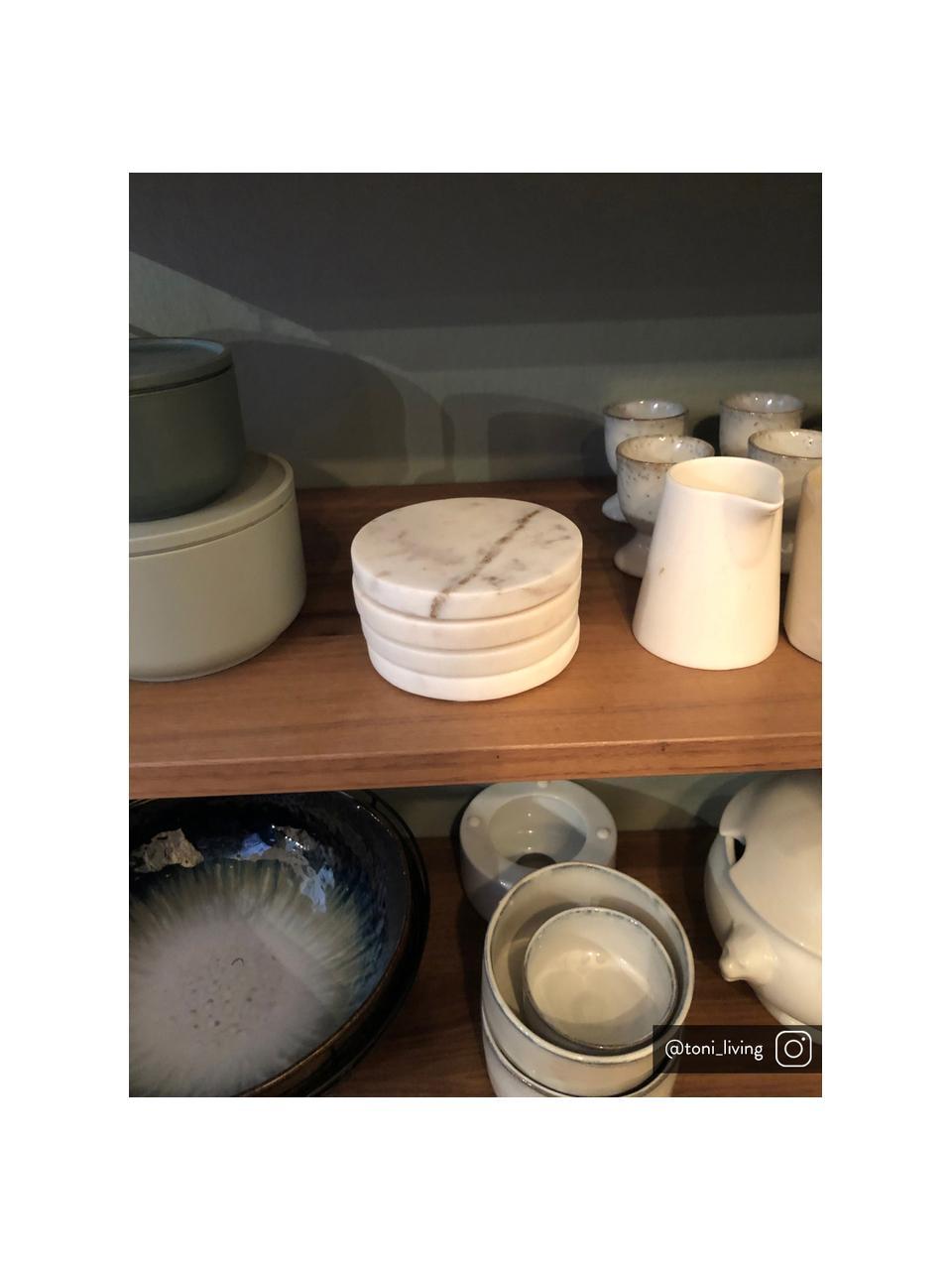 Marmor-Untersetzer Guda in Weiß, 4 Stück, Marmor, Weiß, Ø 10 cm