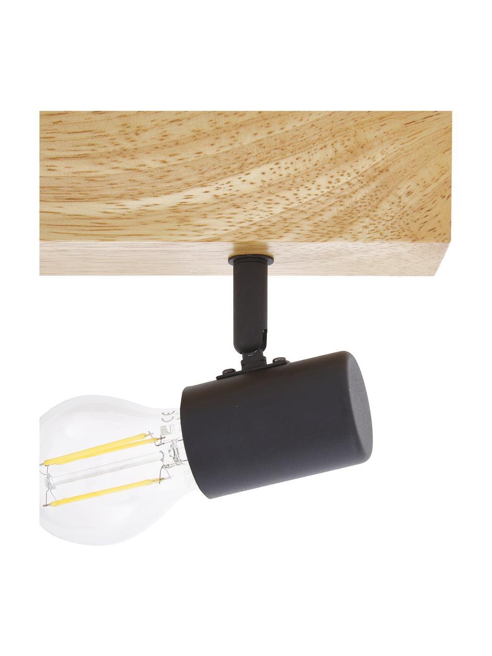 Kleiner Deckenstrahler Townshend aus Holz, Baldachin: Holz, Schwarz, Holz, 30 x 13 cm
