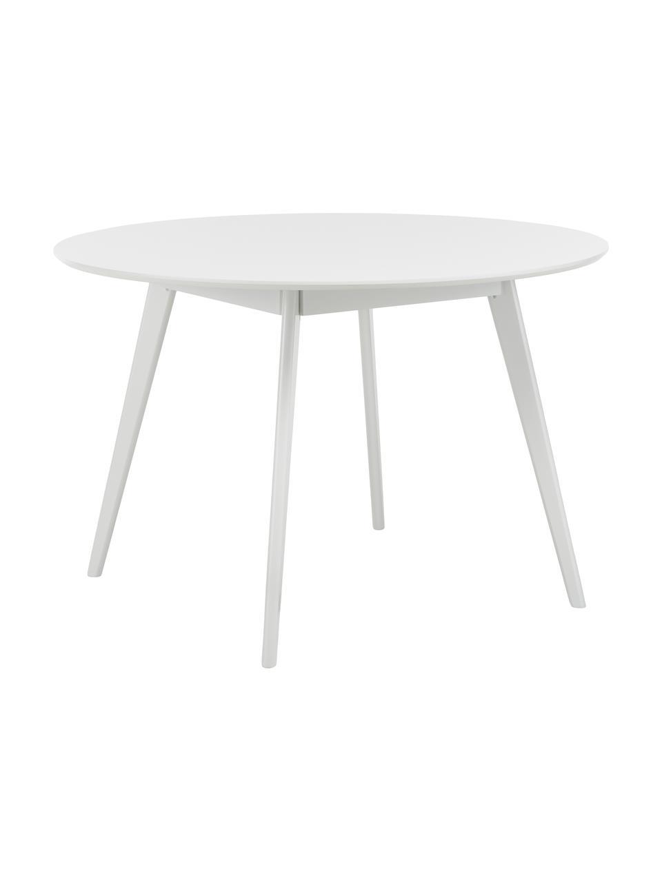 Runder Holz-Esstisch Yumi, Tischplatte: Mitteldichte Holzfaserpla, Beine: Gummibaumholz, massiv und, Weiß, Ø 115 x H 74 cm