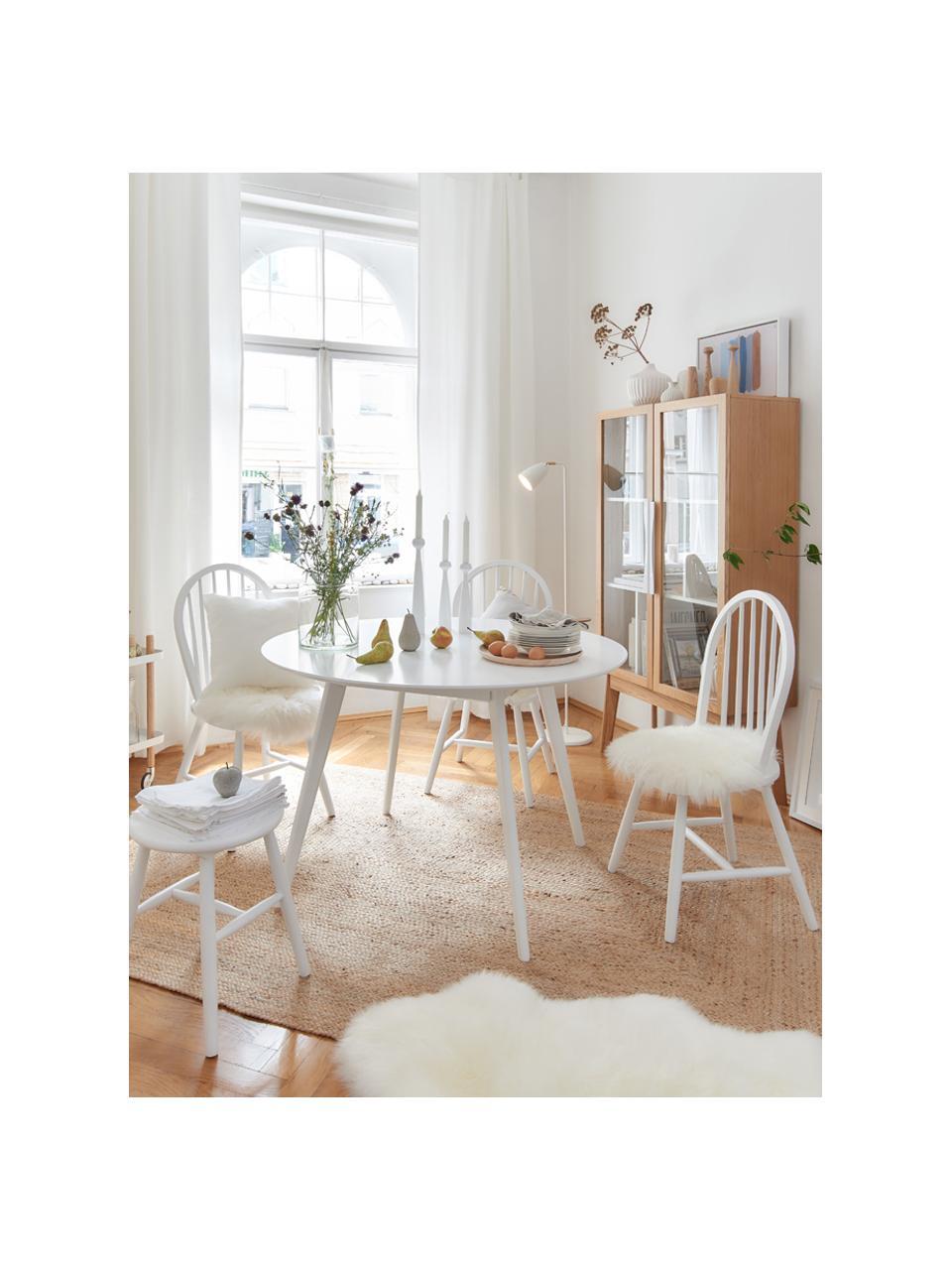 Runder Esstisch Yumi, Ø 115 cm, Tischplatte: Mitteldichte Holzfaserpla, Beine: Gummibaumholz, massiv und, Weiß, Ø 115 x H 74 cm