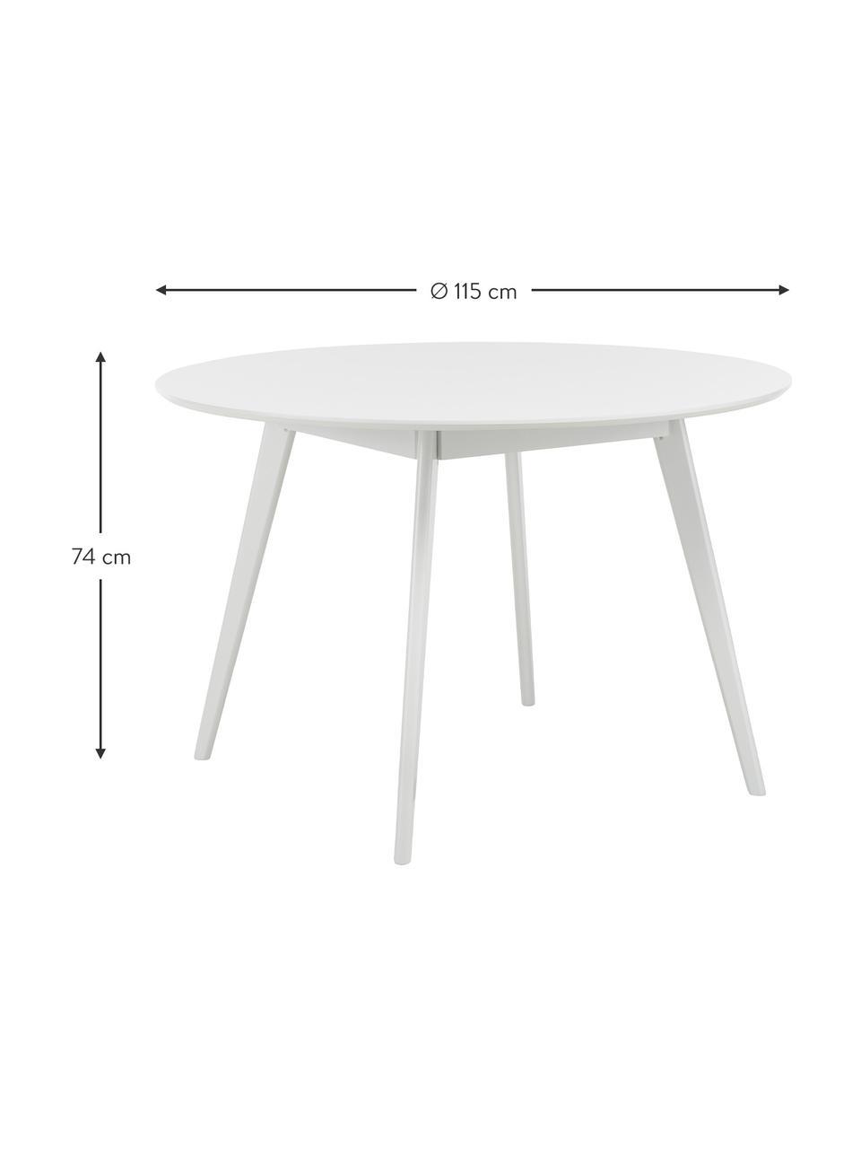 Tavolo rotondo in legno Yumi, Ø 115 cm, Gambe: legno massiccio di albero, Bianco, Ø 115 x Alt. 74 cm