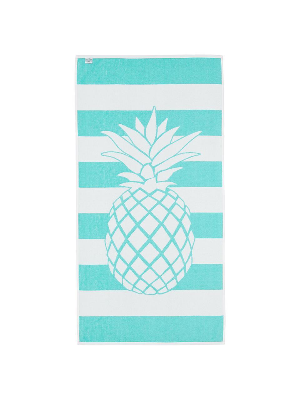 Ręcznik plażowy Anas, Bawełna Niska gramatura 380 g/m², Turkusowy, biały, S 80 x D 160 cm