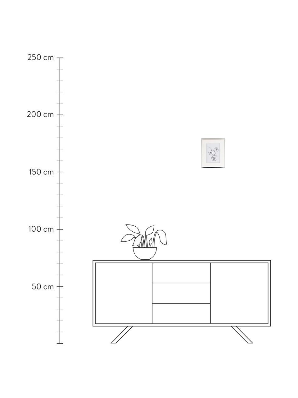 Bilderrahmen Austin Plants, Rahmen: Mitteldichte Holzfaserpla, Front: Glas, Silberfarben, 13 x 18 cm