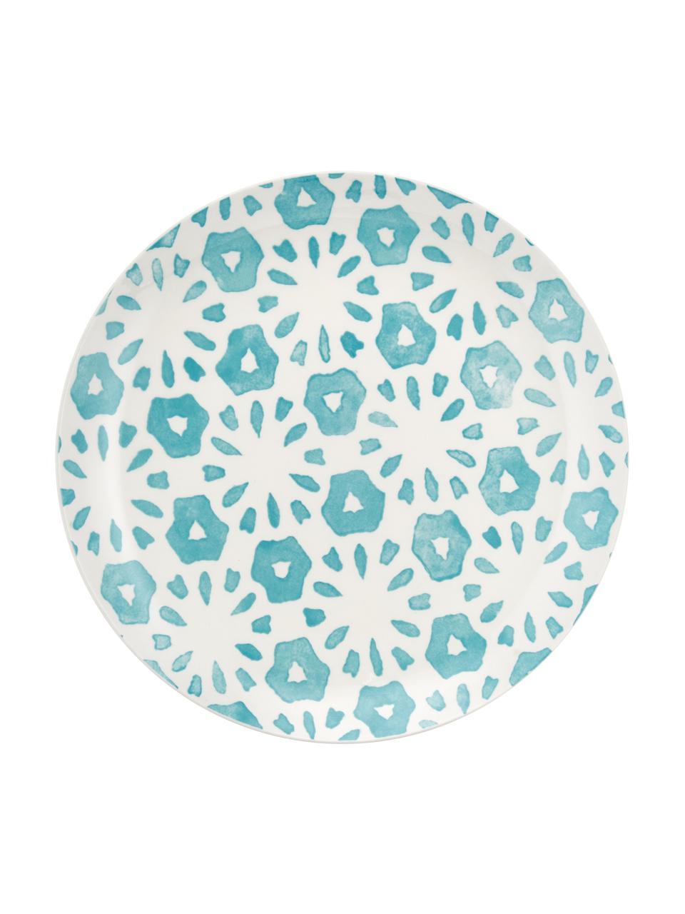 Komplet naczyń  Bodrum, 18 elem., Porcelana, Turkusowy, biały, Komplet z różnymi rozmiarami