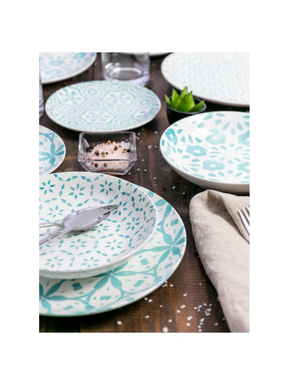 Set 18 piatti per 6 persone Bodrum, Porcellana, Turchese, bianco, Set in varie misure