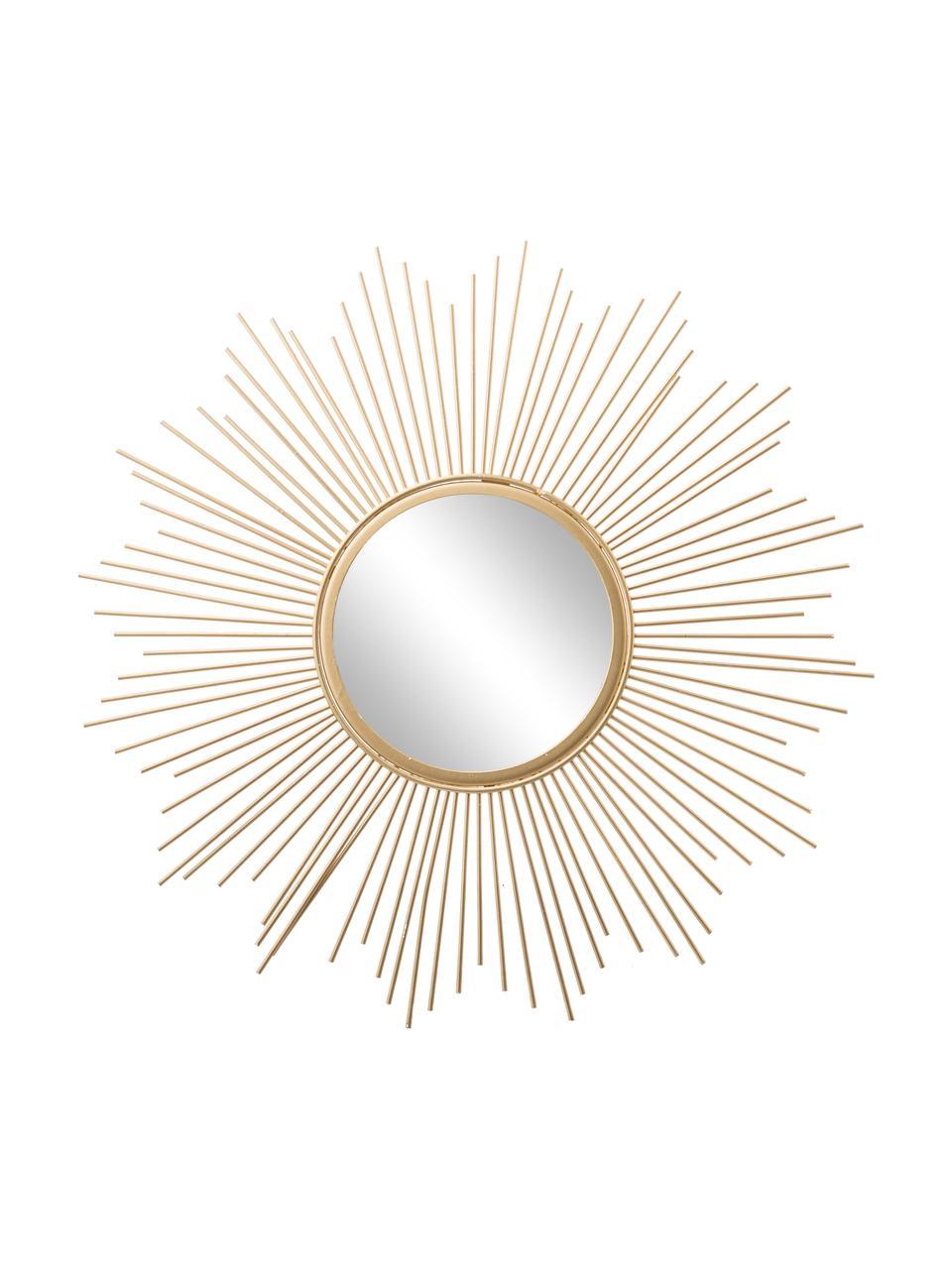 Dekospiegel Brooklyn mit goldenem Metallrahmen, Rahmen: Metall, beschichtet, Spiegelfläche: Spiegelglas, Goldfarben, Ø 50 x T 2 cm