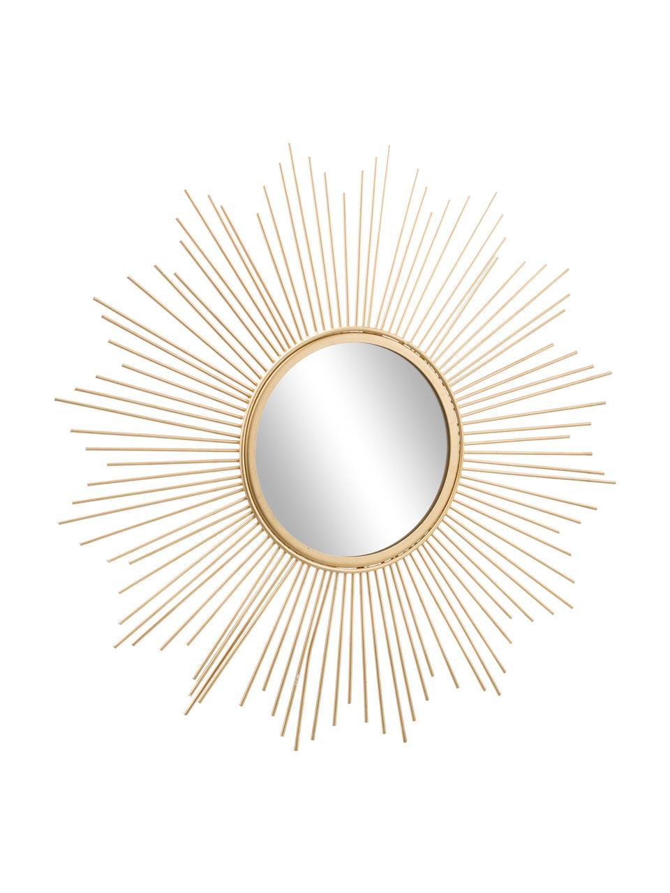Specchio dorato Brooklyn, Cornice: metallo rivestito, Superficie dello specchio: lastra di vetro, Dorato, Ø 50 cm x Prof. 2 cm