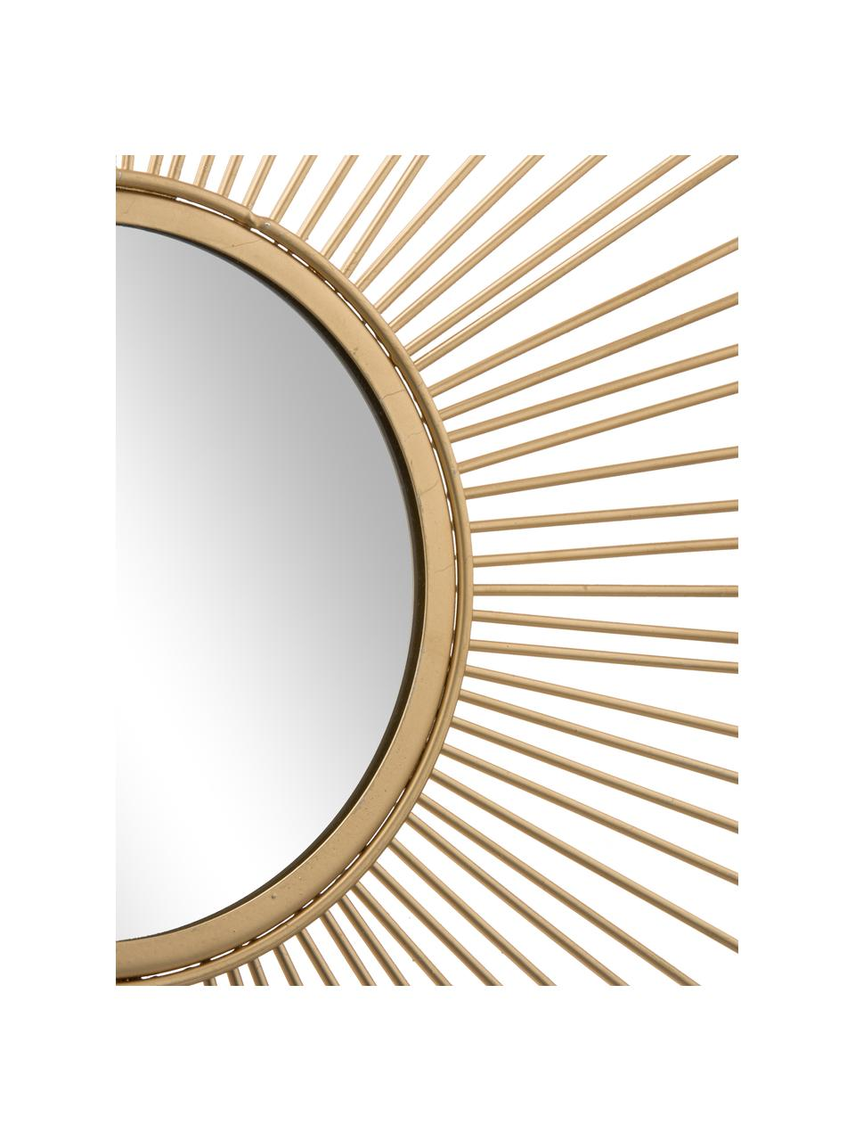 Zonnespiegel Brooklyn met antieke afwerking, Lijst: metaal, Lijst: goudkleurig. Spiegelvlak: spiegelglas, Ø 50 cm