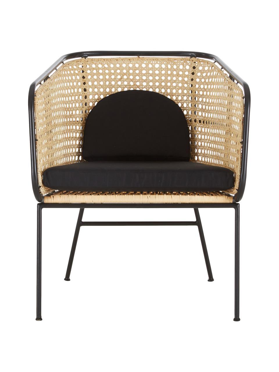 Krzesło z plecionką wiedeńską Merete, Siedzisko: rattan Stelaż: czarny, matowy Poszewki: czarny, S 72 x G 74 cm