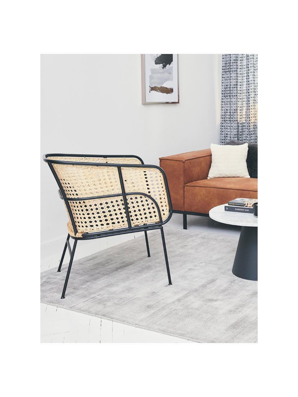 Loungestuhl Merete mit Wiener Geflecht, Sitzfläche: Rattan, Gestell: Metall, pulverbeschichtet, Rattan, Schwarz, B 72 x T 74 cm