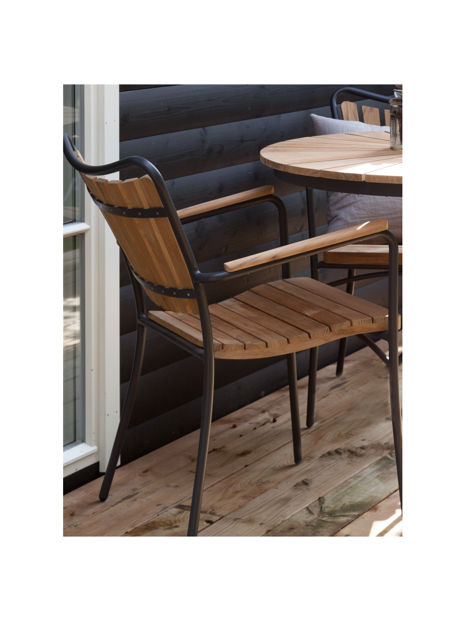 Zahradní židle z dřeva Hard & Ellen, Antracitová, teakové dřevo