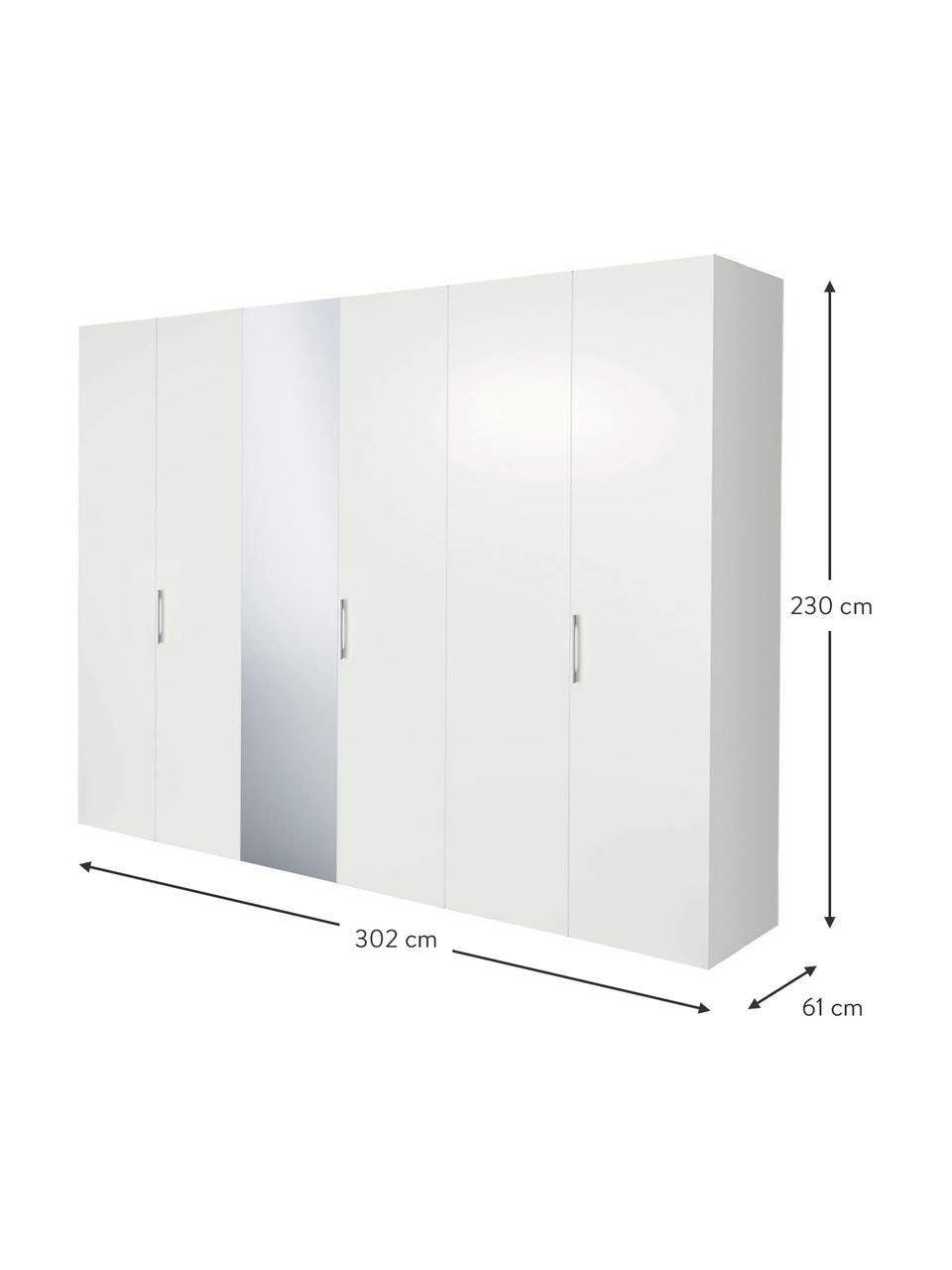 XL Kleiderschrank Madison mit Spiegeltür in Weiß, Korpus: Holzwerkstoffplatten, lac, Weiß, 302 x 230 cm