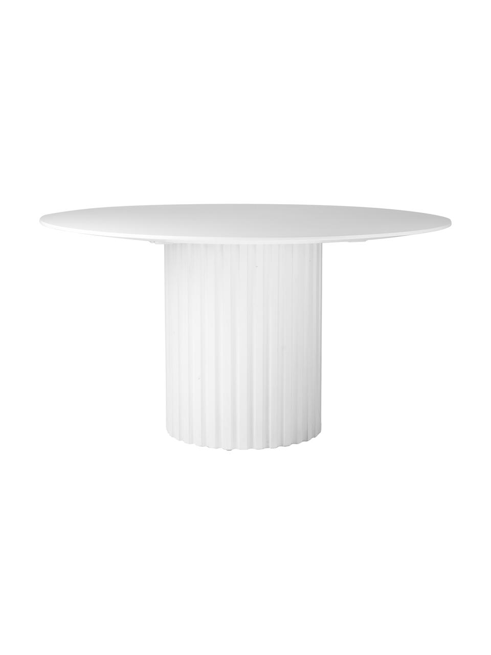 Runder Esstisch Pillar in Weiß, Sungkai-Holz, Mitteldichte Holzfaserplatte (MDF), Weiß, Ø 140 x H 75 cm