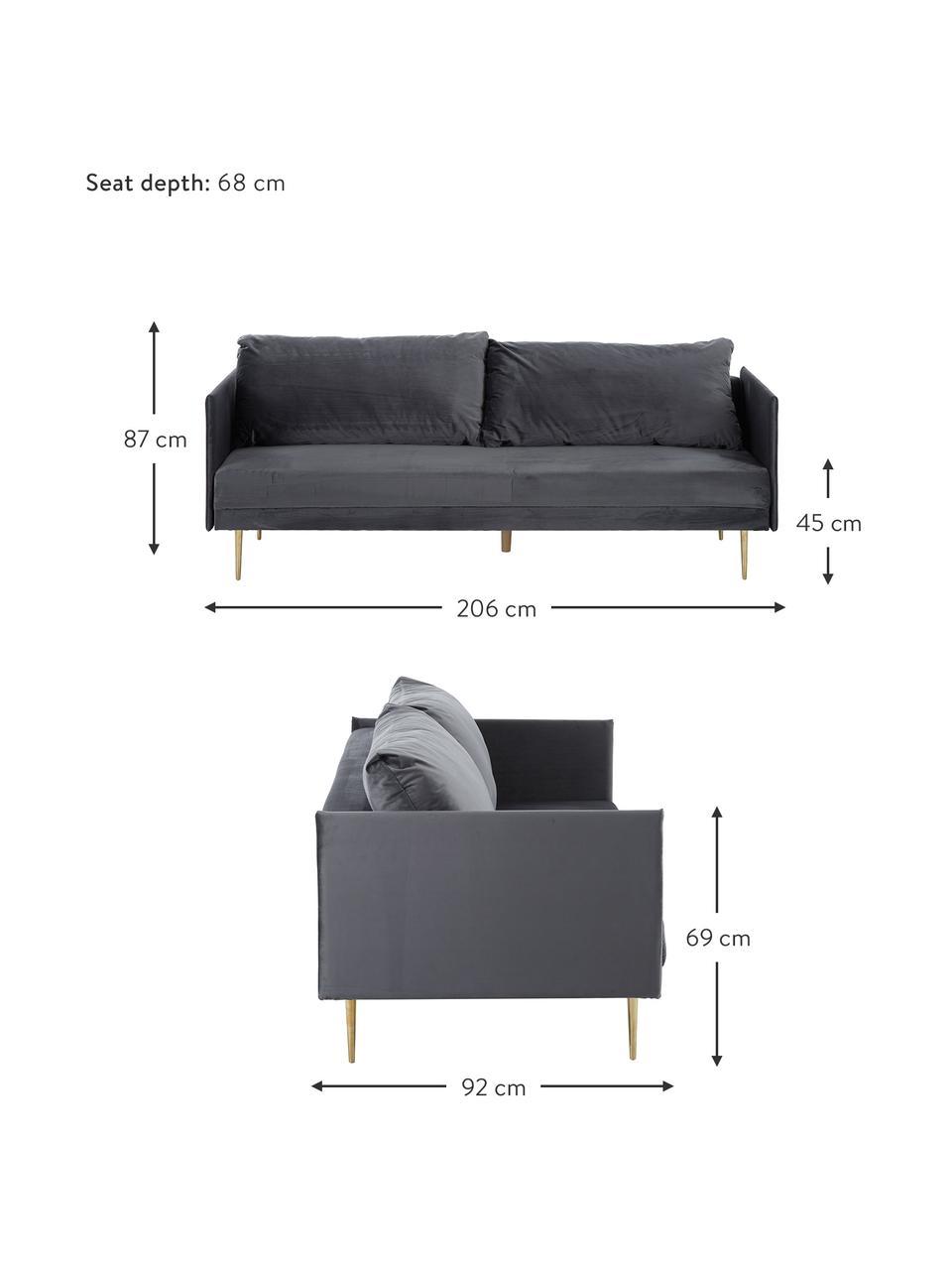 Sofa z aksamitu z metalowymi nogami i funkcją spania Lauren, Tapicerka: aksamit (poliester) Dzięk, Nogi: metal lakierowany, Aksamitny szary, S 206 x W 87 cm