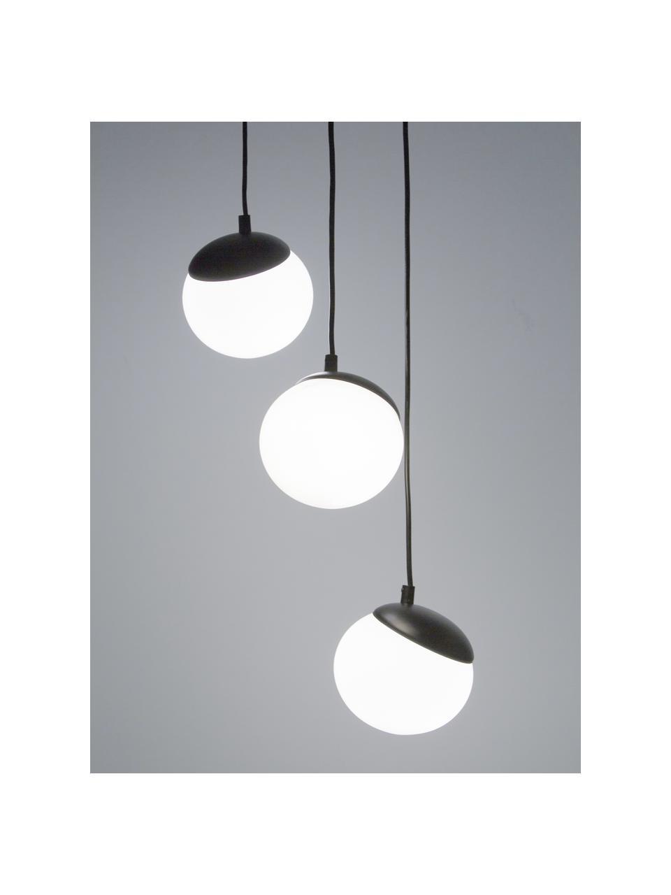 Suspension 3 lampes Sfera, Noir, blanc opalescent