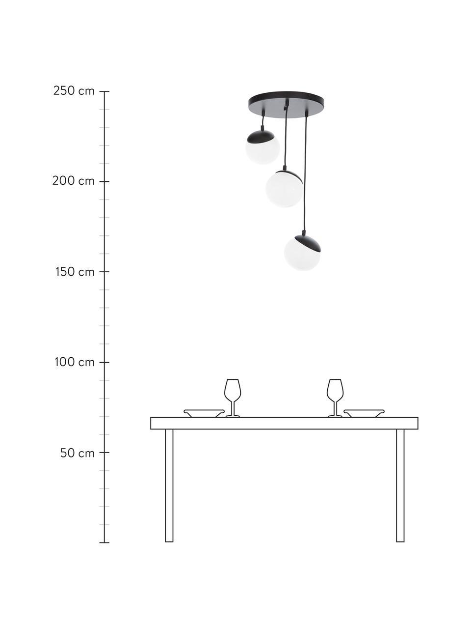 Lampa wisząca ze szkła opalowego Sfera, Czarny, biały, opalowy, Ø 35 cm