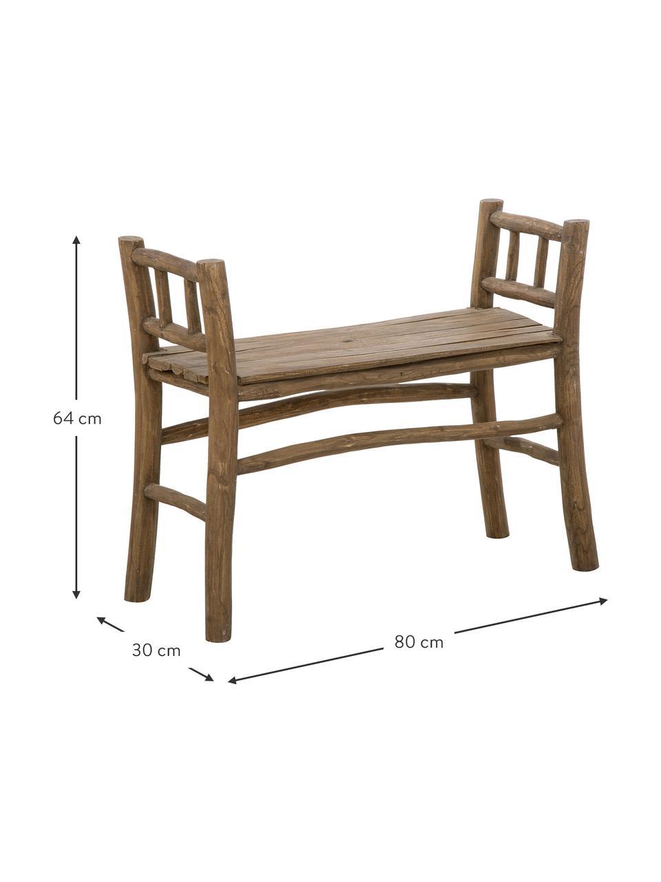 Panchina in legno di teak Beachside, Legno di teak, finitura naturale, Teak, Larg. 80 x Alt. 64 cm