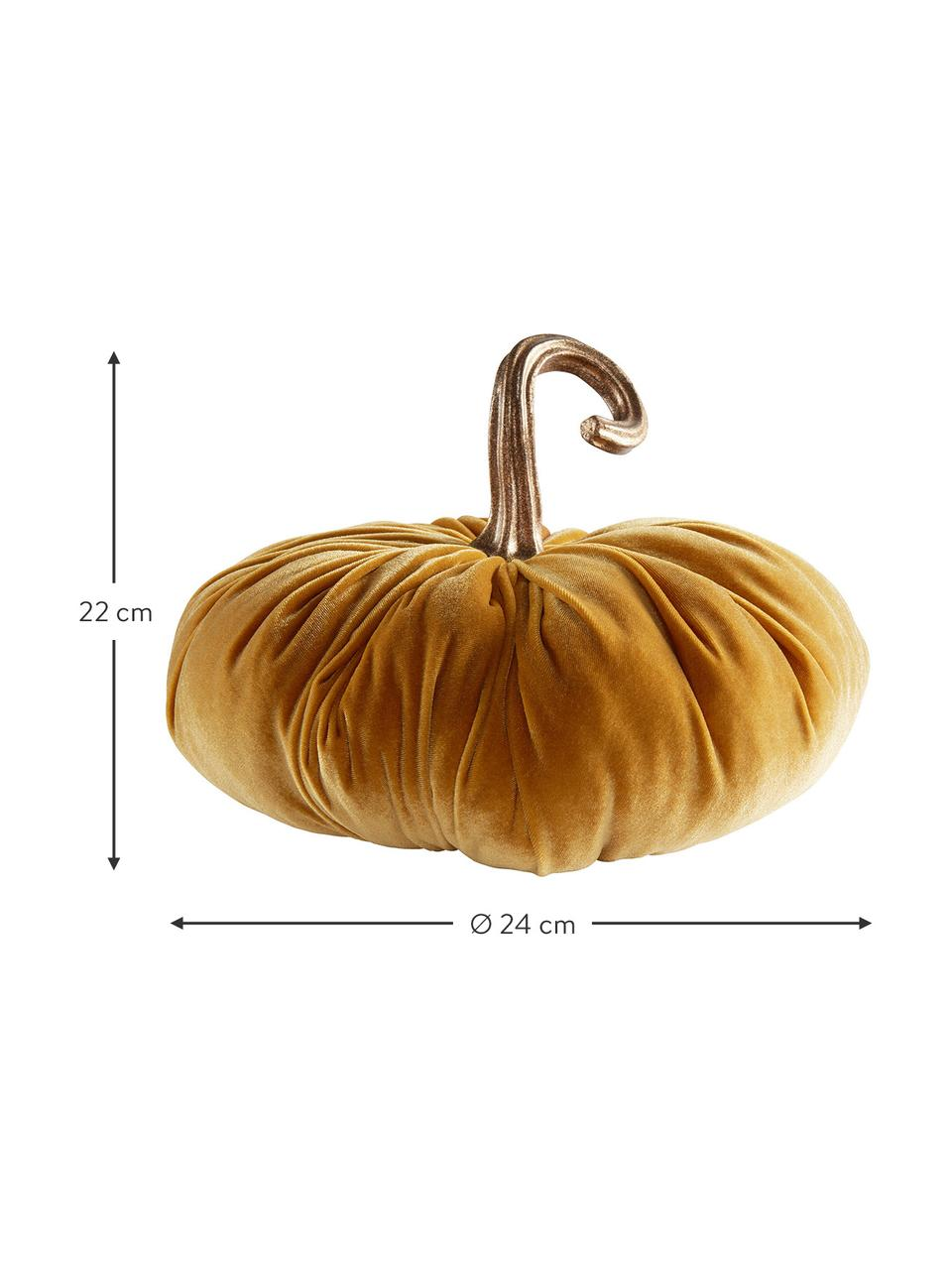 Zucca decorativa in velluto Pumpis, 15% poliresina, 35% acrilico, 25% poliestere, 25% riempimento con sabbia di quarzo, Giallo, Ø 24 x Alt. 22 cm