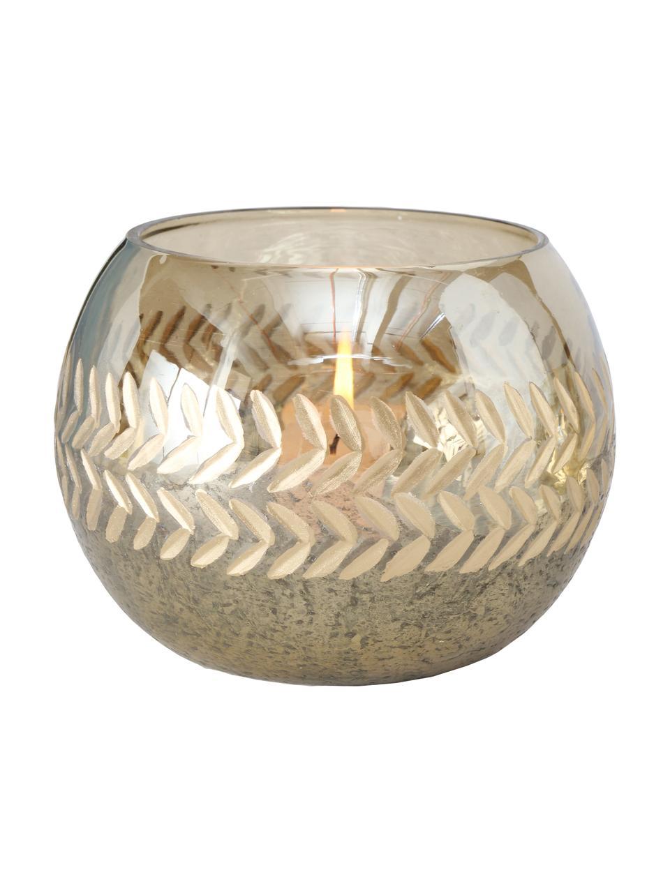 Teelichthalter-Set Laurel, 2-tlg., Glas, Goldfarben, Ø 15 x H 11 cm