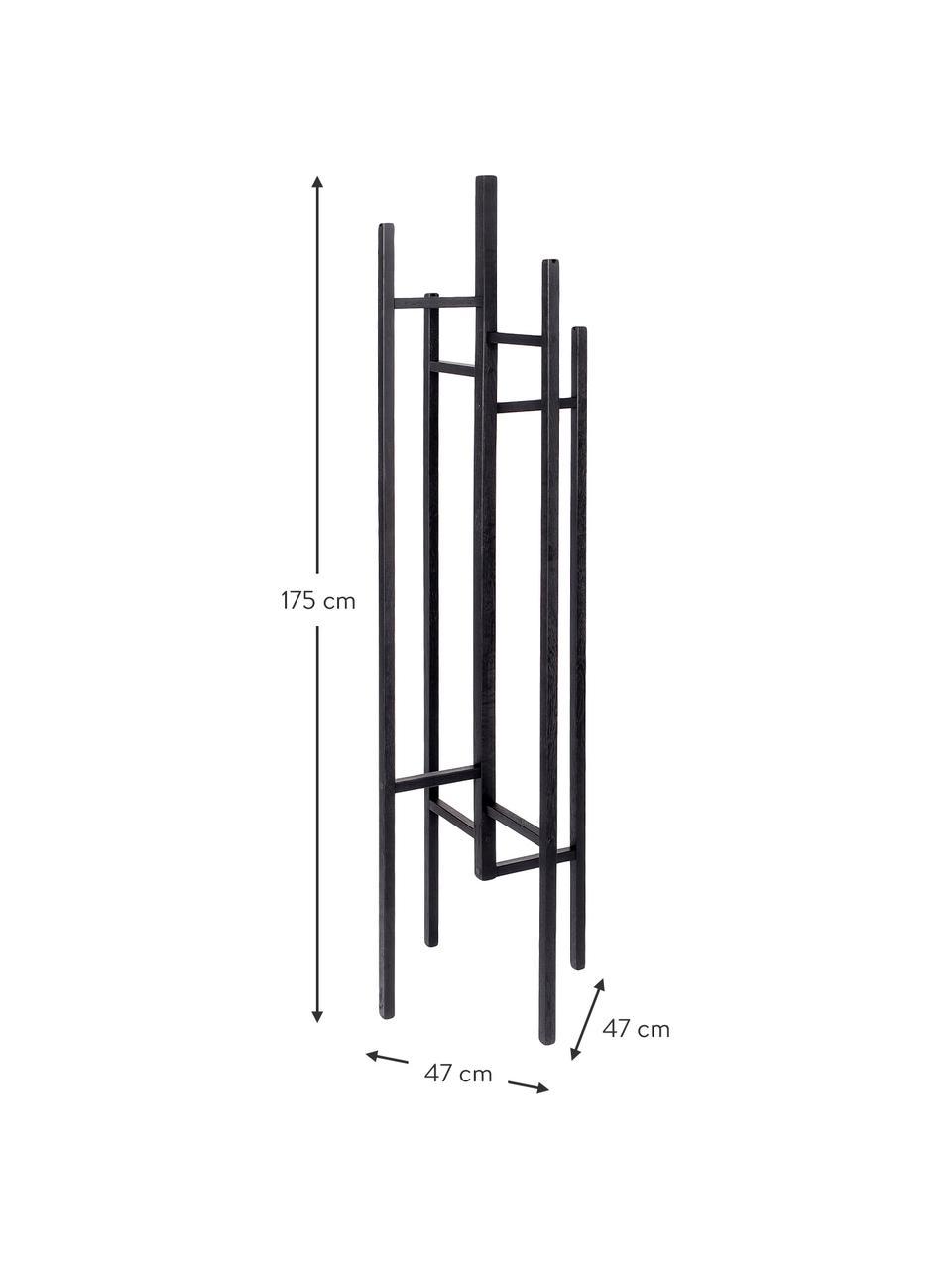 Wieszak stojący z 5 hakami Eigen, Lite drewno dębowe, lakierowane, Czarny, S 47 x W 175 cm