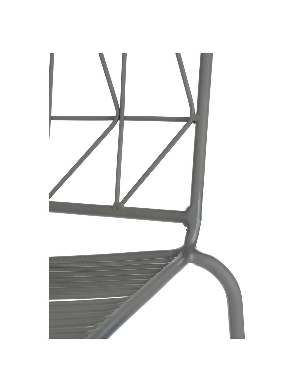 Grijze balkonstoel Bueno, Gecoat metaal, Grijs, 55 x 77 cm