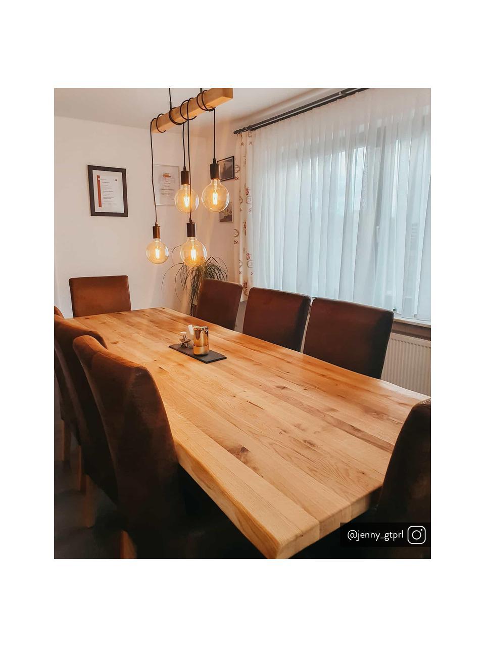 Lampada a sospensione in legno Townshend, Struttura: legno di albero della gom, Baldacchino: acciaio verniciato, Nero, legno, Larg. 70 x Alt. 25 cm