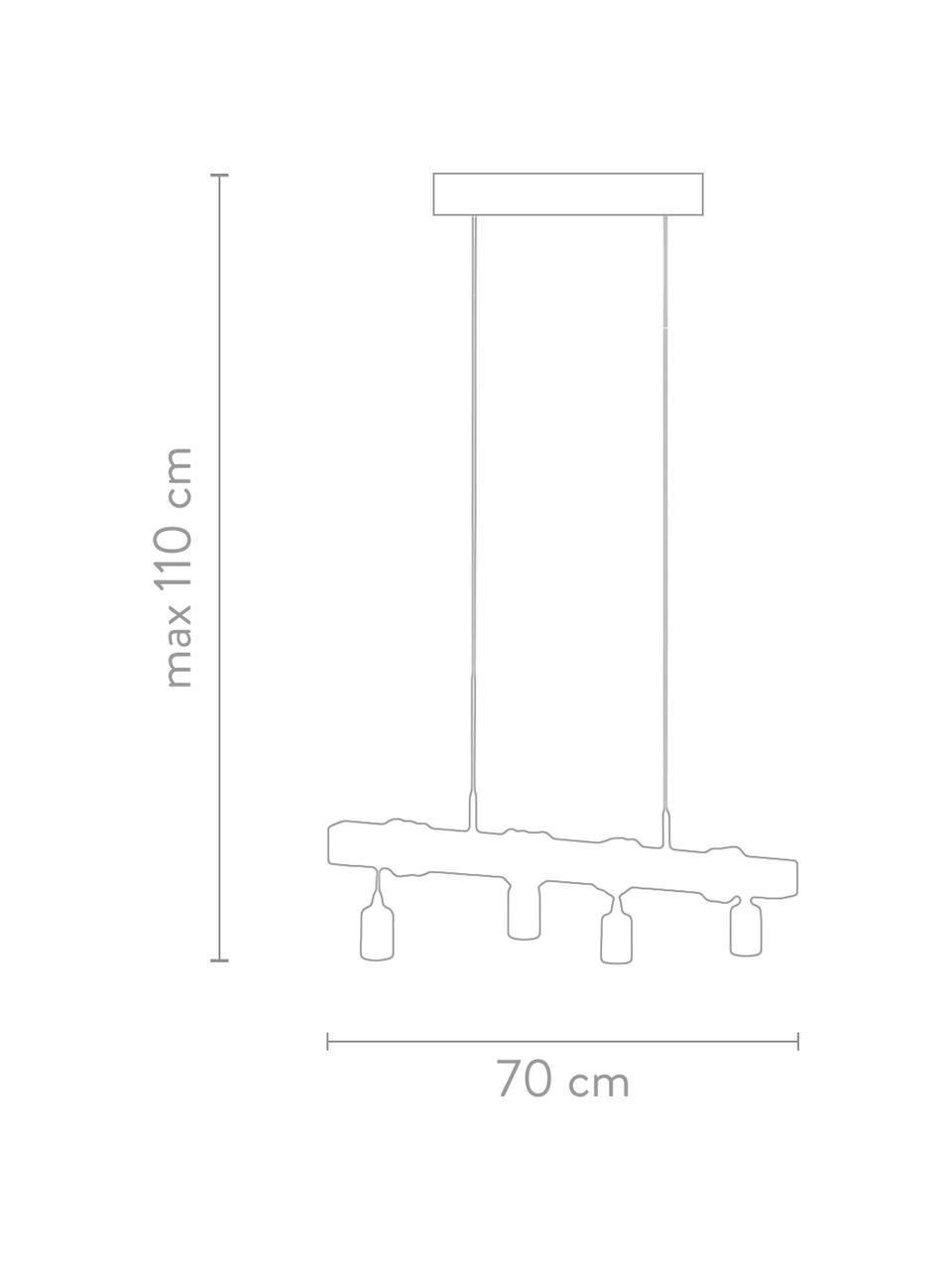 Lampa wisząca z drewna Townshend, Czarny, drewno naturalne, S 70 x W 25 cm